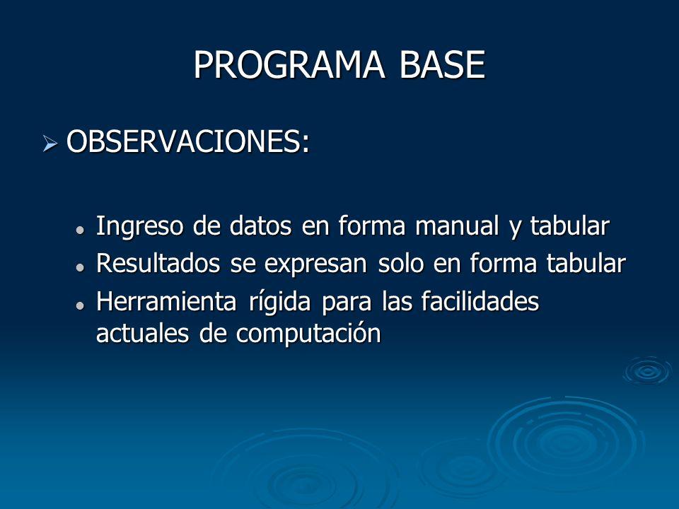 PROGRAMA BASE OBSERVACIONES:
