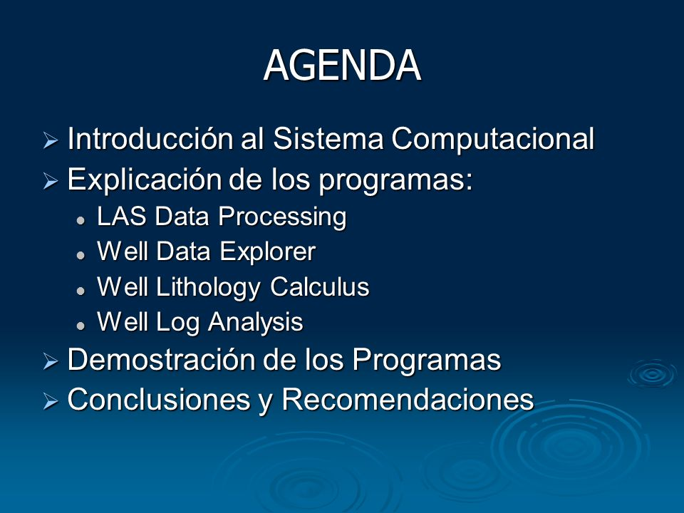 AGENDA Introducción al Sistema Computacional