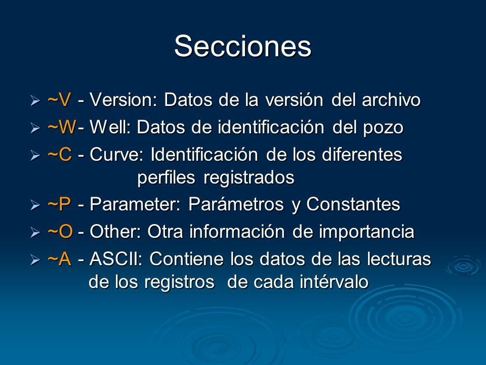 Secciones ~V - Version: Datos de la versión del archivo