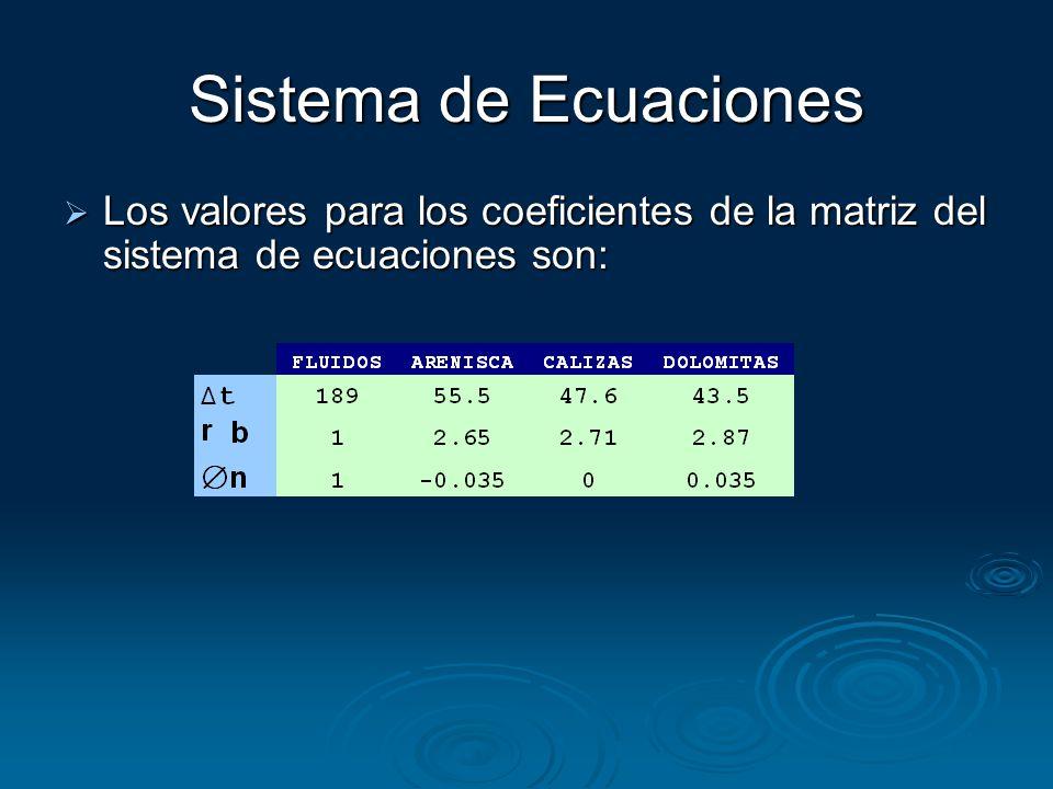 Sistema de Ecuaciones Los valores para los coeficientes de la matriz del sistema de ecuaciones son: