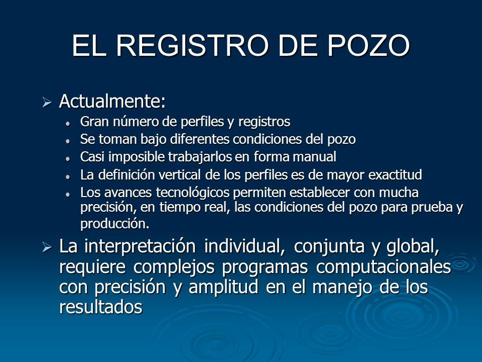 EL REGISTRO DE POZO Actualmente: