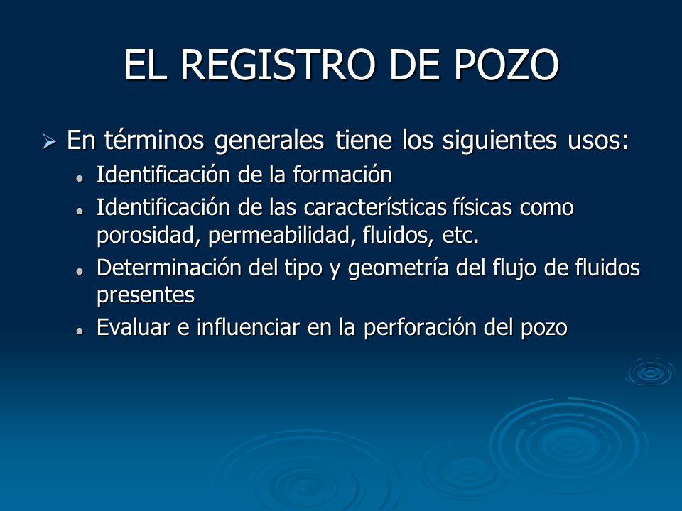 EL REGISTRO DE POZO En términos generales tiene los siguientes usos: