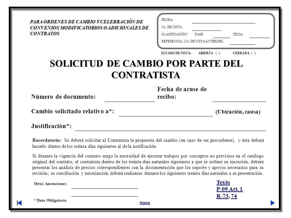 SOLICITUD DE CAMBIO POR PARTE DEL CONTRATISTA