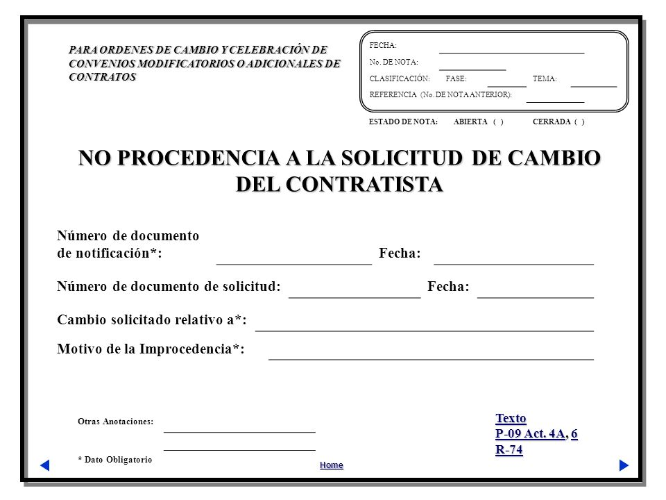 NO PROCEDENCIA A LA SOLICITUD DE CAMBIO DEL CONTRATISTA
