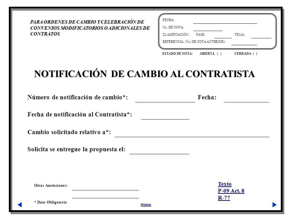 NOTIFICACIÓN DE CAMBIO AL CONTRATISTA