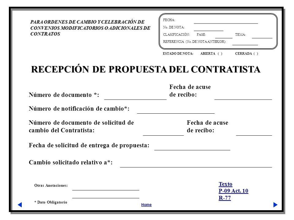 RECEPCIÓN DE PROPUESTA DEL CONTRATISTA