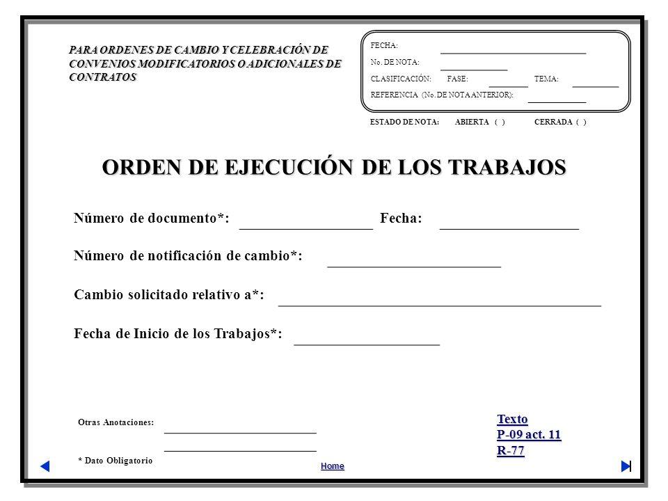 ORDEN DE EJECUCIÓN DE LOS TRABAJOS