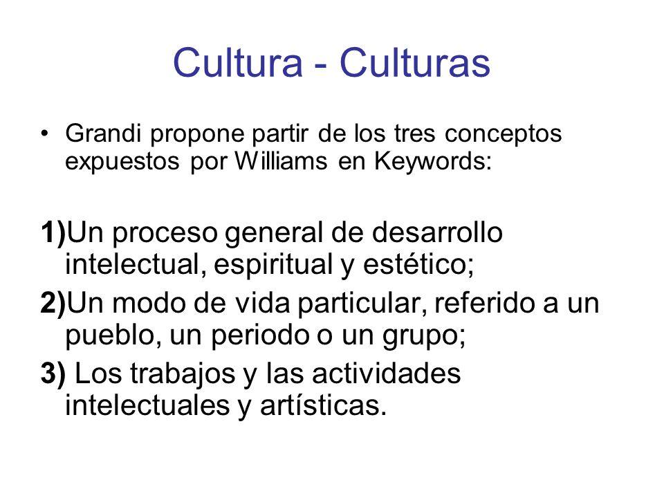 Cultura - Culturas Grandi propone partir de los tres conceptos expuestos por Williams en Keywords: