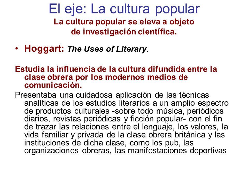 El eje: La cultura popular La cultura popular se eleva a objeto de investigación científica.