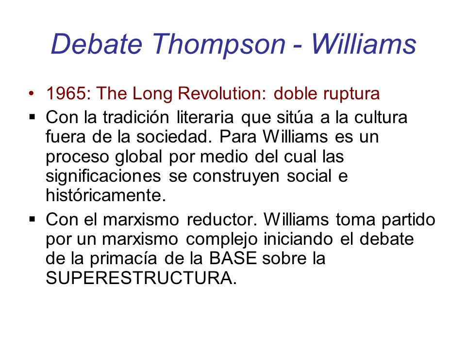 Debate Thompson - Williams