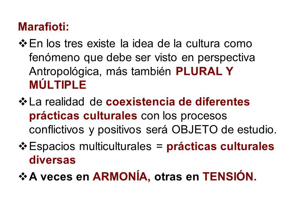 Marafioti: En los tres existe la idea de la cultura como fenómeno que debe ser visto en perspectiva Antropológica, más también PLURAL Y MÚLTIPLE.