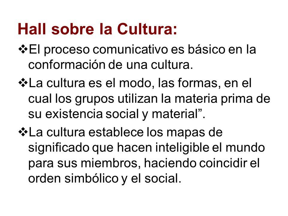 Hall sobre la Cultura: El proceso comunicativo es básico en la conformación de una cultura.