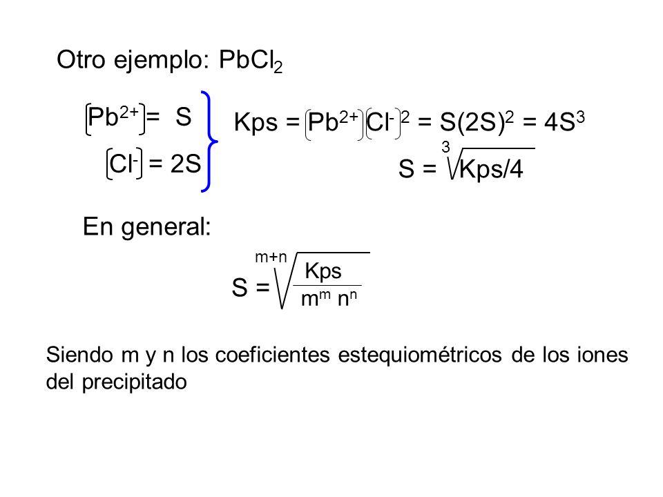 Otro ejemplo: PbCl2 Pb2+ = S Kps = Pb2+ Cl- 2 = S(2S)2 = 4S3 Cl- = 2S