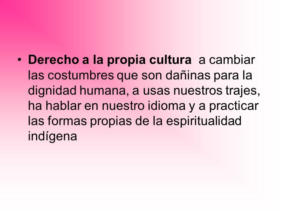 Derecho a la propia cultura a cambiar las costumbres que son dañinas para la dignidad humana, a usas nuestros trajes, ha hablar en nuestro idioma y a practicar las formas propias de la espiritualidad indígena