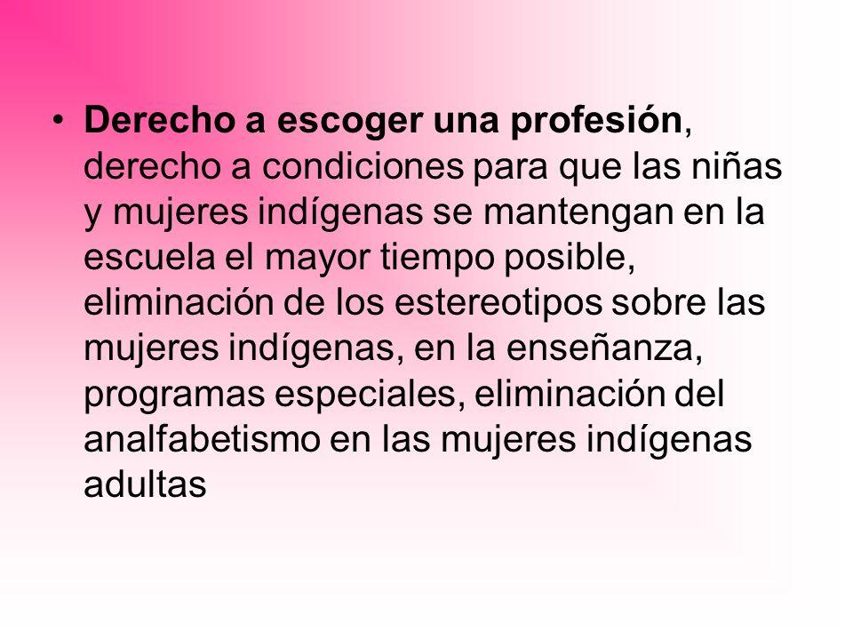 Derecho a escoger una profesión, derecho a condiciones para que las niñas y mujeres indígenas se mantengan en la escuela el mayor tiempo posible, eliminación de los estereotipos sobre las mujeres indígenas, en la enseñanza, programas especiales, eliminación del analfabetismo en las mujeres indígenas adultas