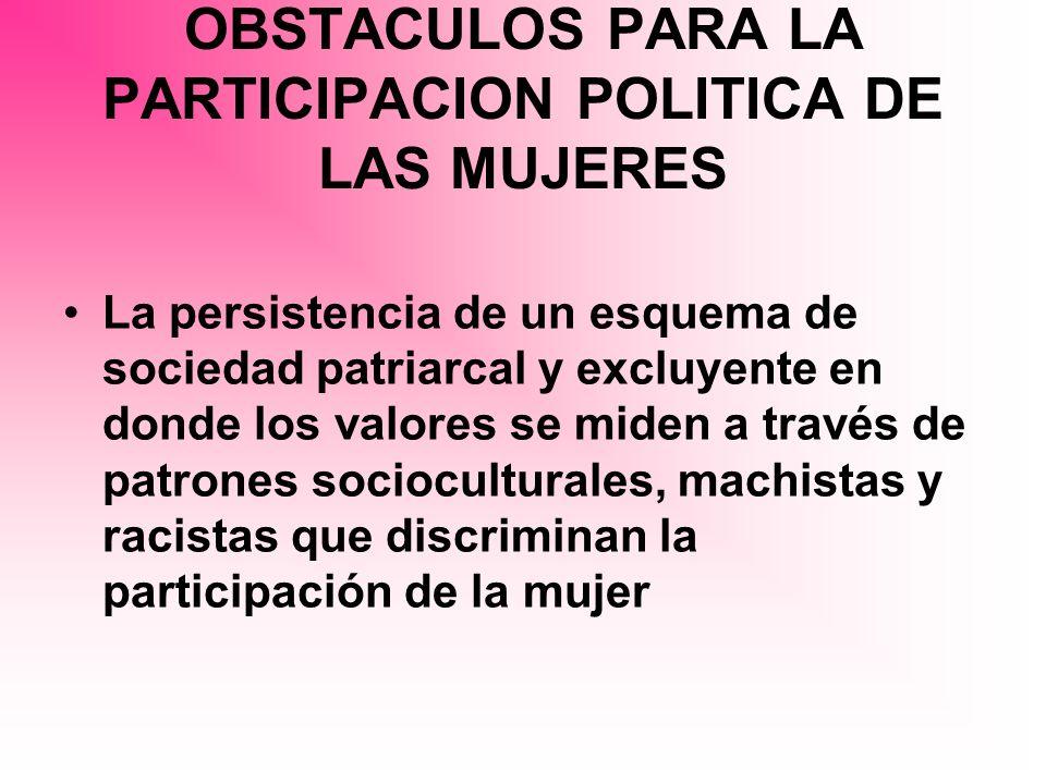 OBSTACULOS PARA LA PARTICIPACION POLITICA DE LAS MUJERES