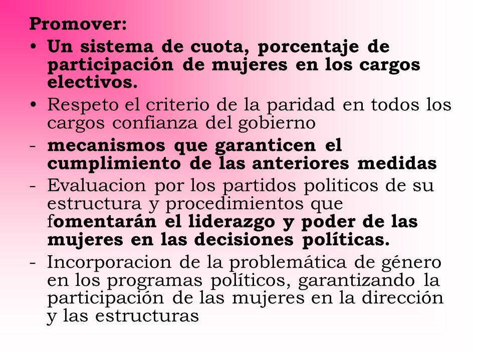 Promover: Un sistema de cuota, porcentaje de participación de mujeres en los cargos electivos.