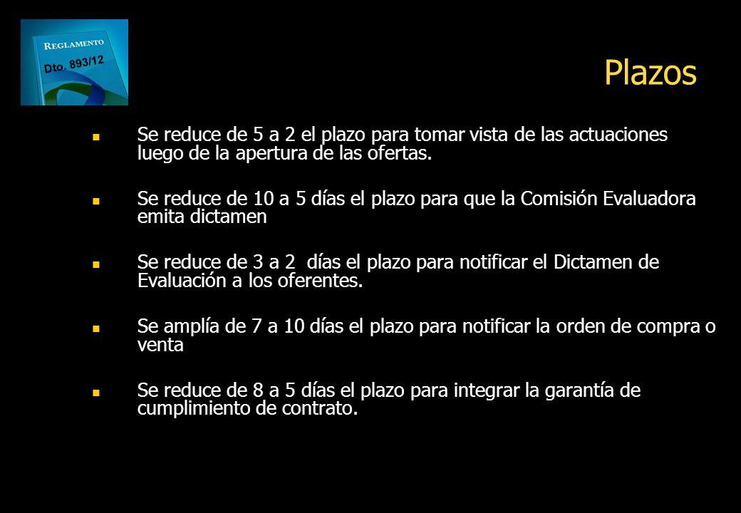 Plazos Dto. 893/12. Se reduce de 5 a 2 el plazo para tomar vista de las actuaciones luego de la apertura de las ofertas.