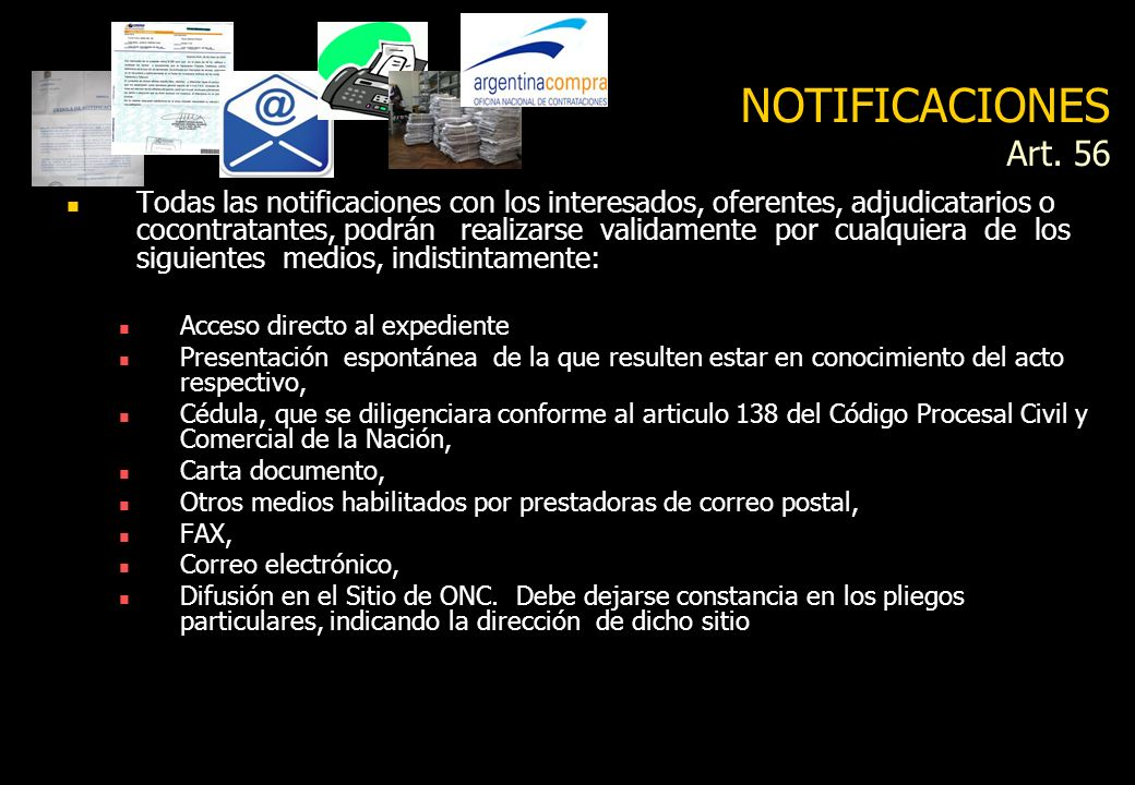 NOTIFICACIONES Art. 56