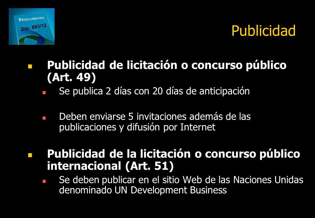 Publicidad Publicidad de licitación o concurso público (Art. 49)