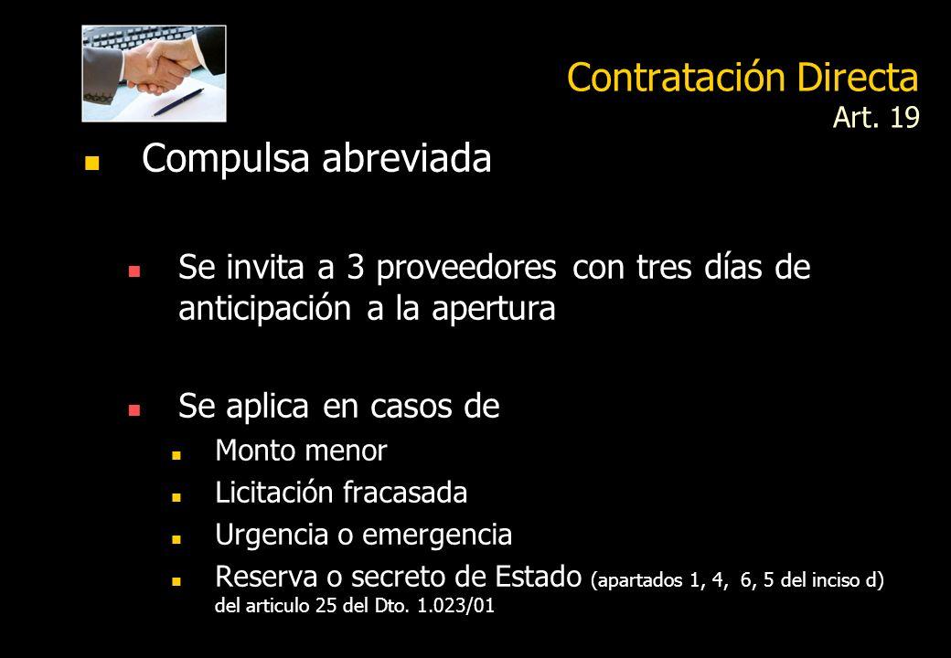 Contratación Directa Art. 19