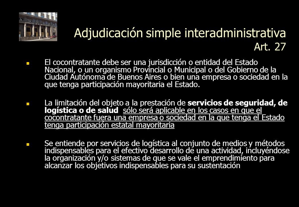 Adjudicación simple interadministrativa Art. 27