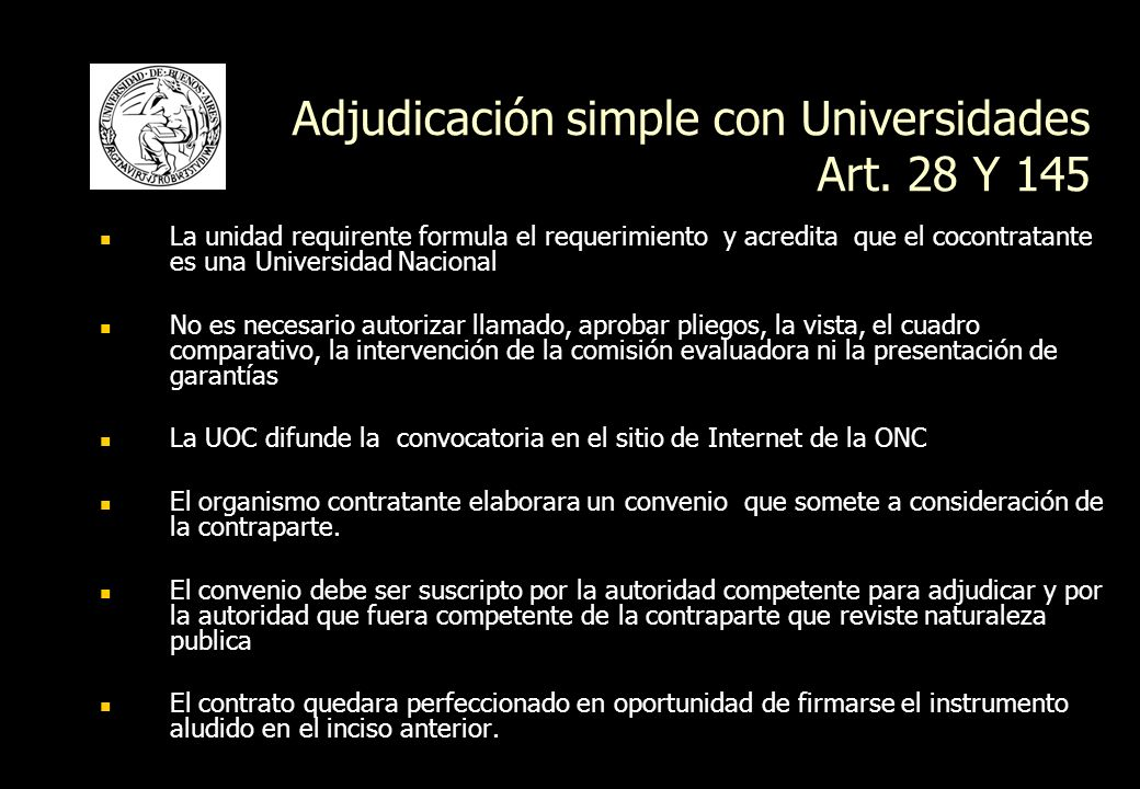 Adjudicación simple con Universidades Art. 28 Y 145