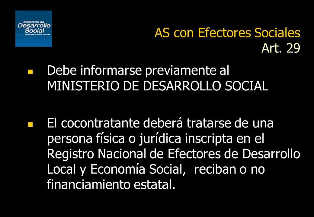 AS con Efectores Sociales Art. 29