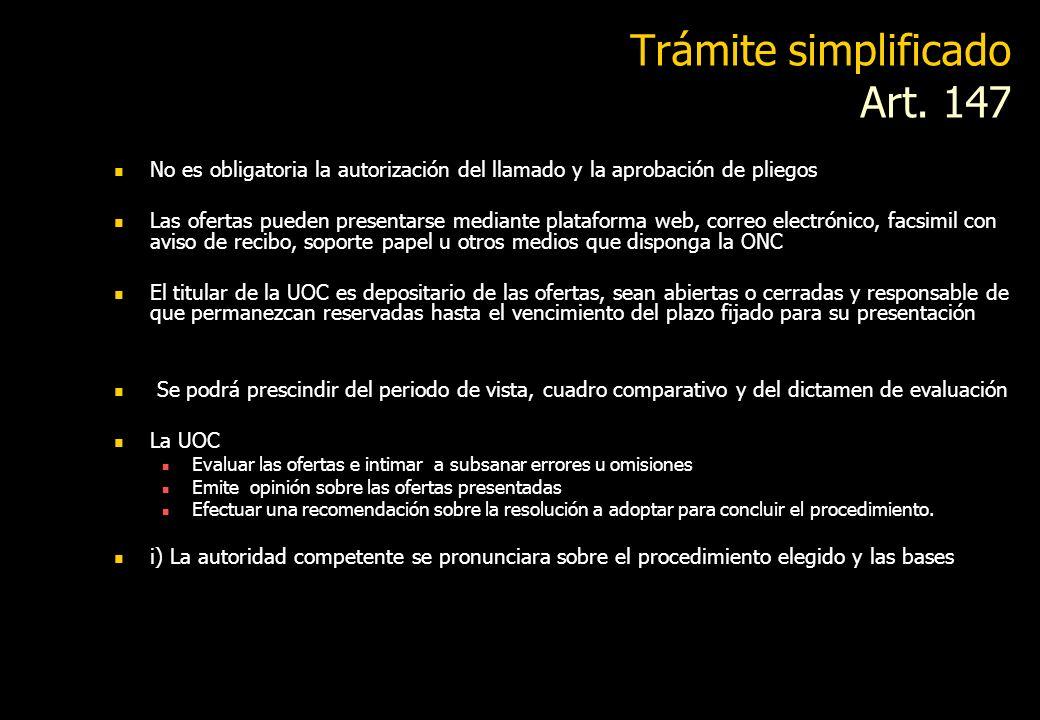 Trámite simplificado Art. 147
