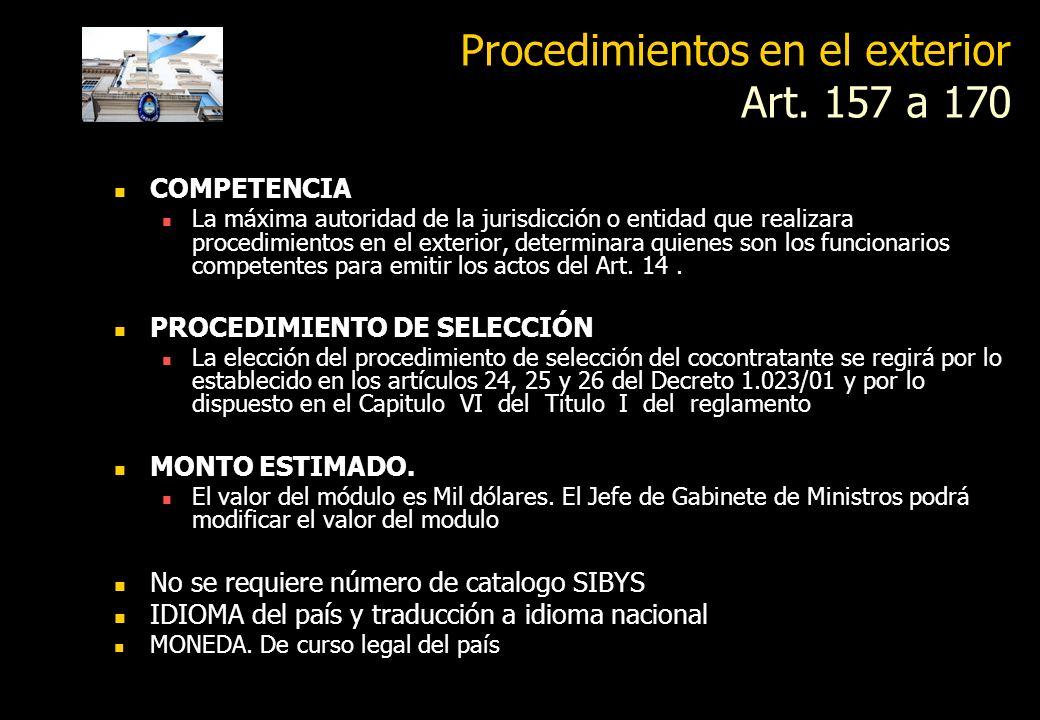 Procedimientos en el exterior Art. 157 a 170