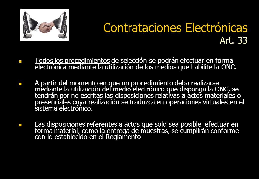 Contrataciones Electrónicas Art. 33