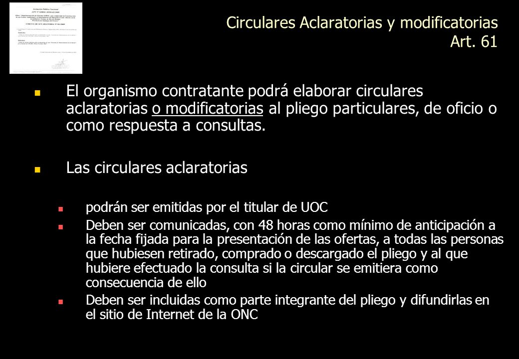 Circulares Aclaratorias y modificatorias Art. 61