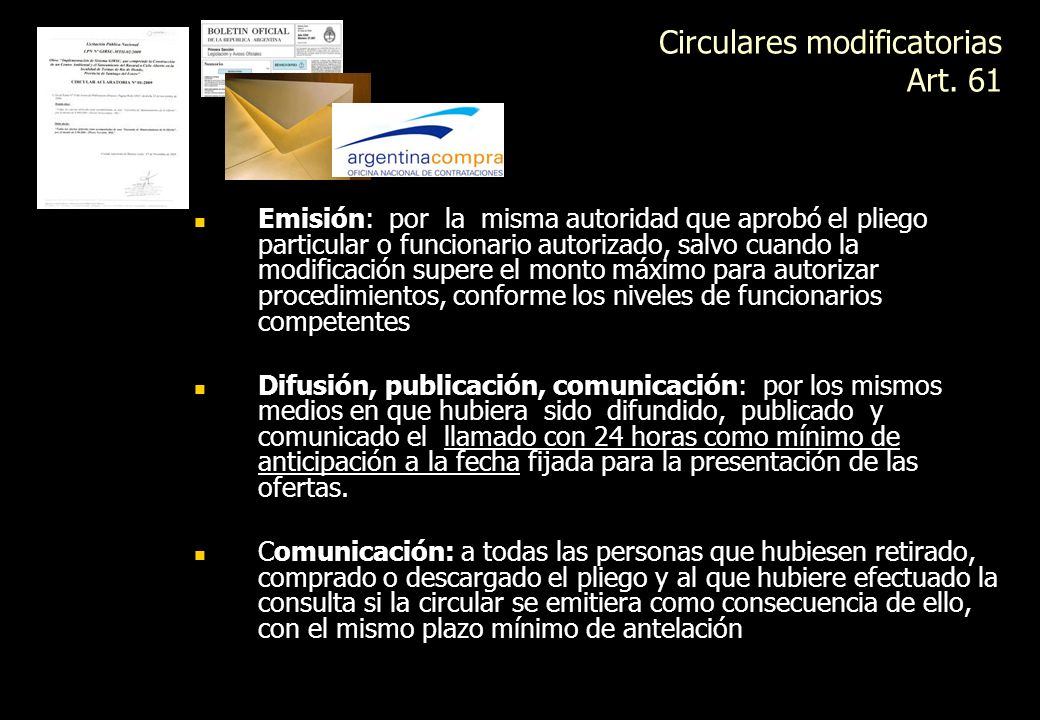 Circulares modificatorias Art. 61
