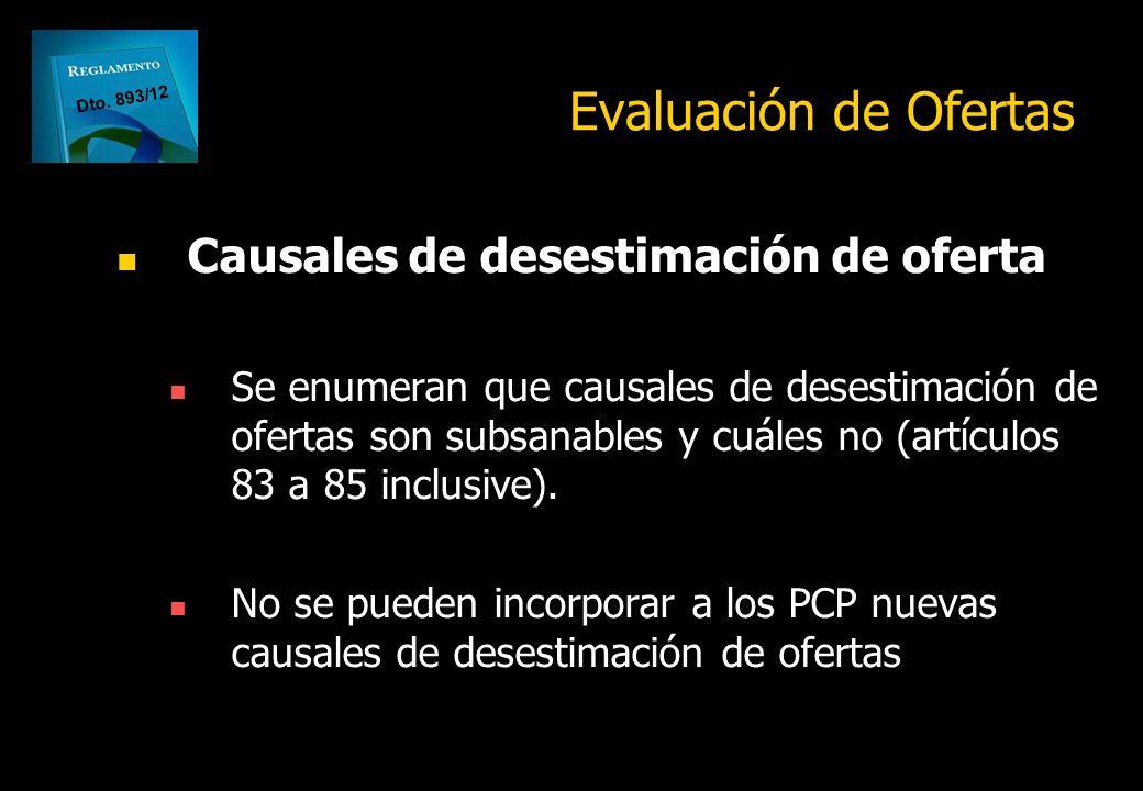 Evaluación de Ofertas Causales de desestimación de oferta
