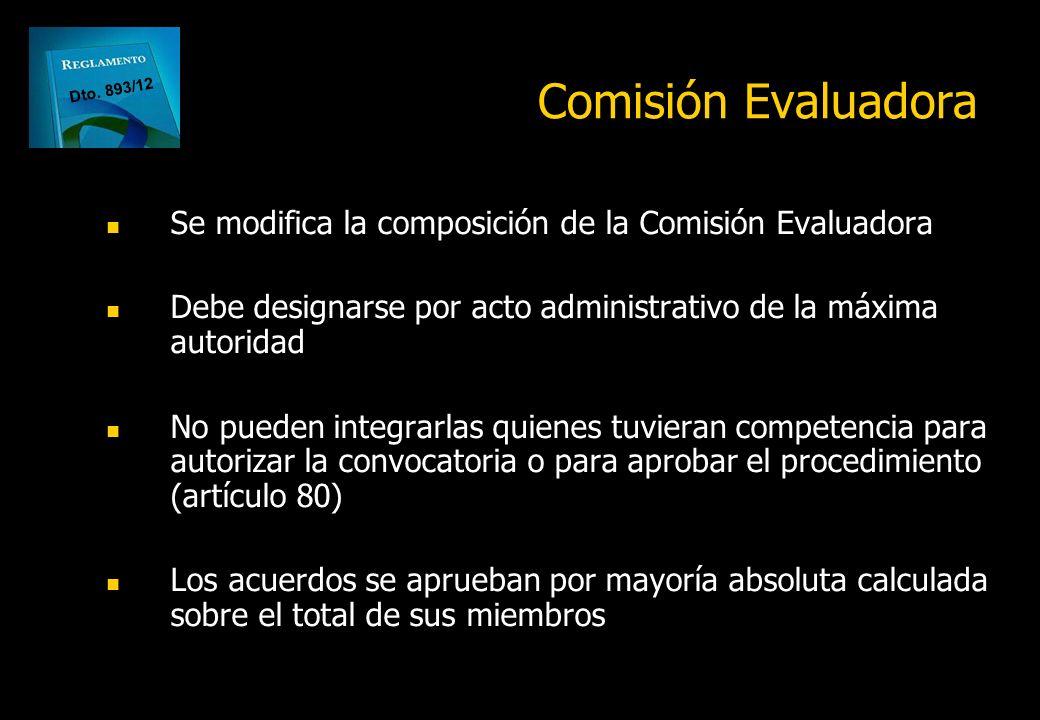 Comisión Evaluadora Dto. 893/12. Se modifica la composición de la Comisión Evaluadora.
