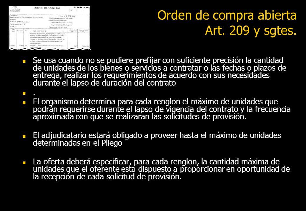 Orden de compra abierta Art. 209 y sgtes.