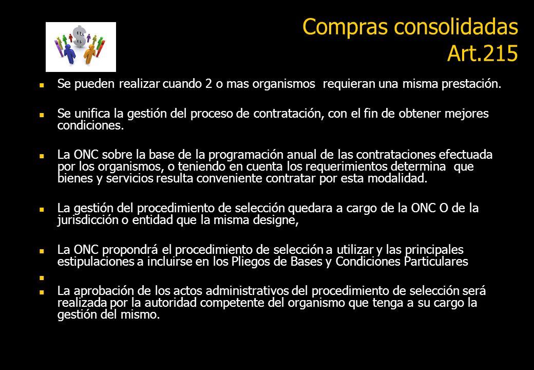 Compras consolidadas Art.215