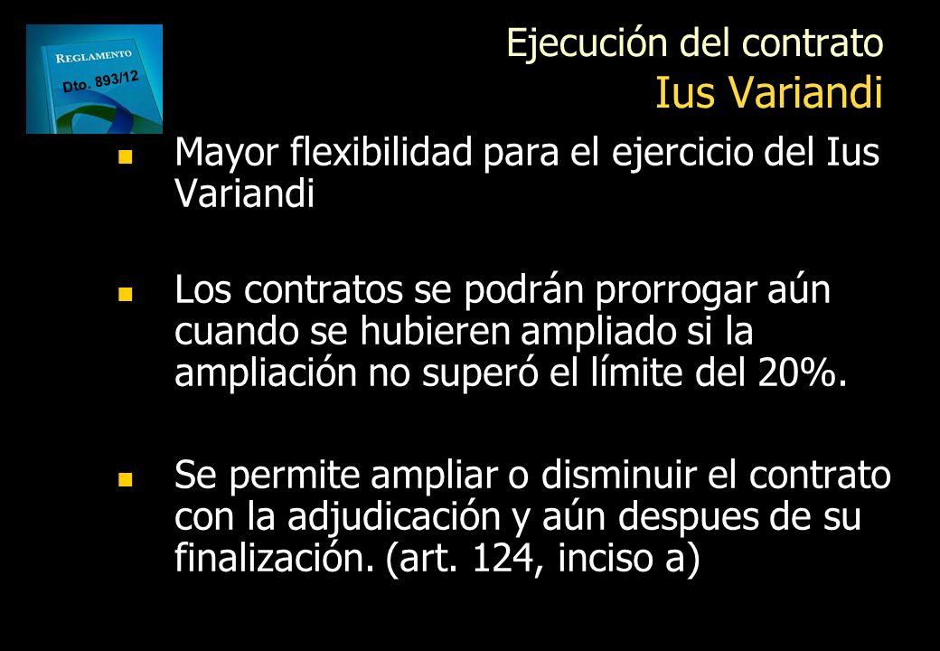 Ejecución del contrato Ius Variandi