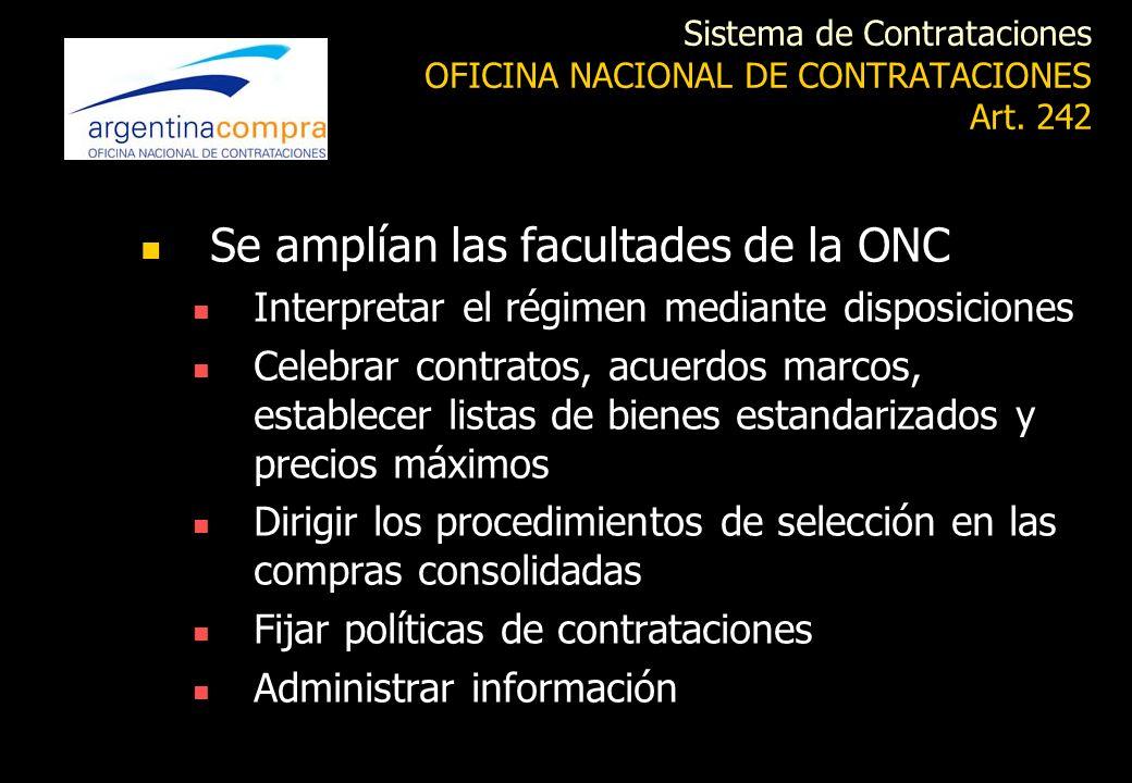 Sistema de Contrataciones OFICINA NACIONAL DE CONTRATACIONES Art. 242