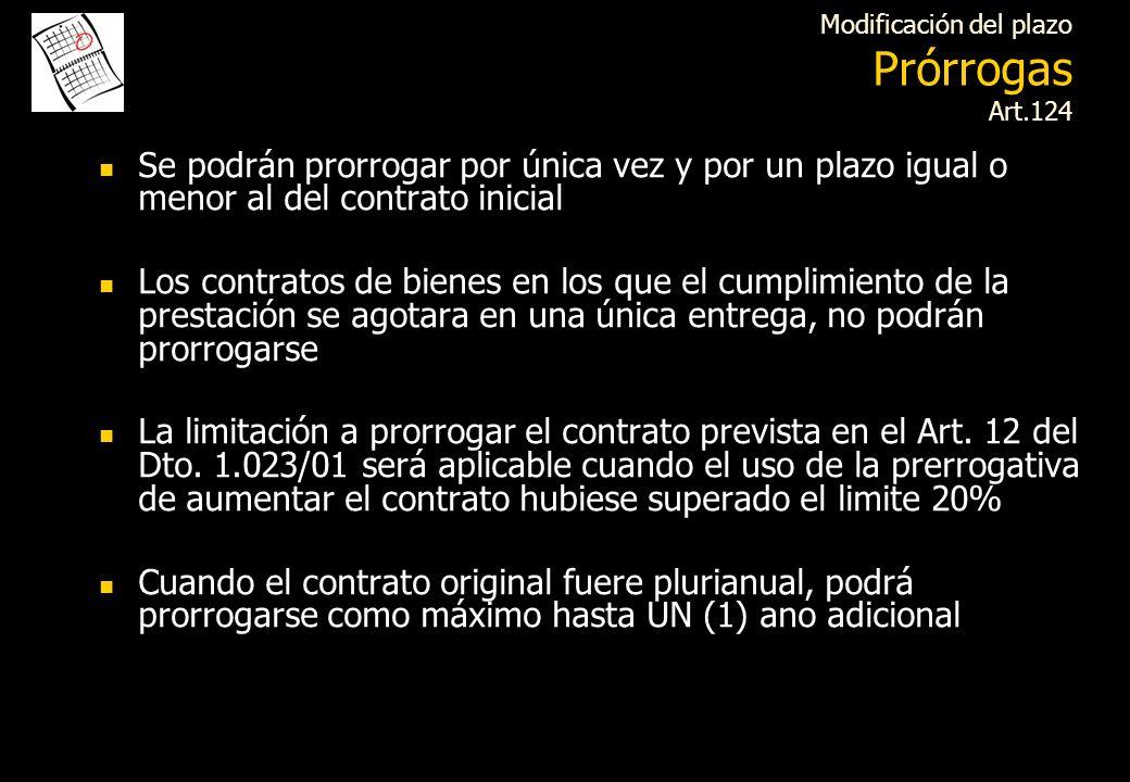 Modificación del plazo Prórrogas Art.124
