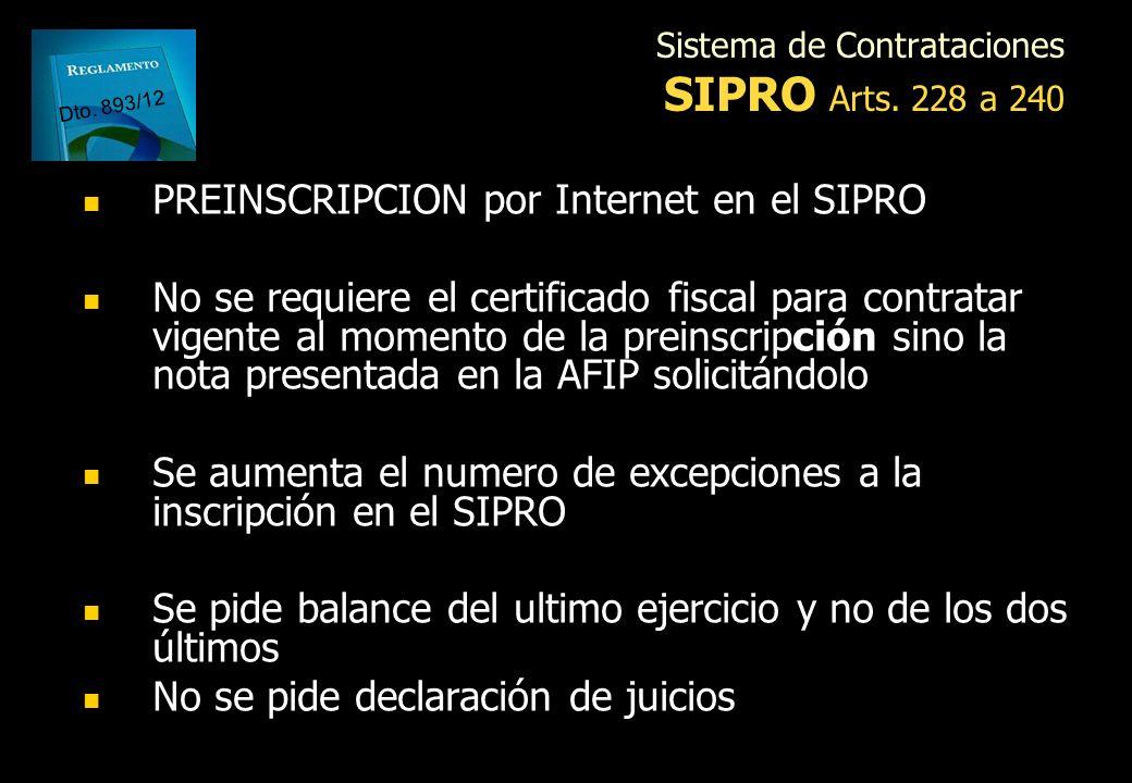 Sistema de Contrataciones SIPRO Arts. 228 a 240