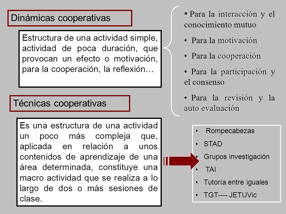 Para la interacción y el conocimiento mutuo Dinámicas cooperativas