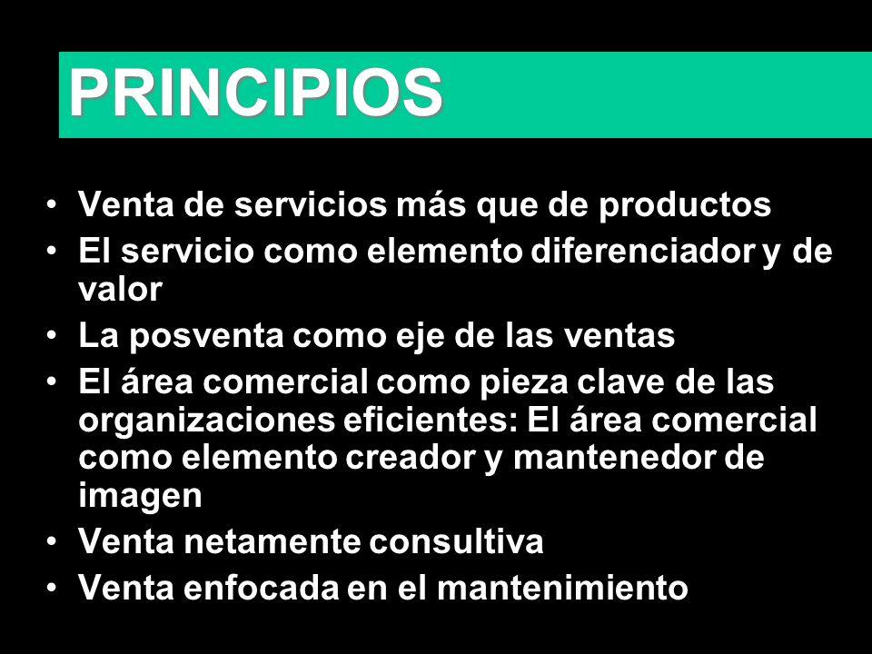 PRINCIPIOS Venta de servicios más que de productos