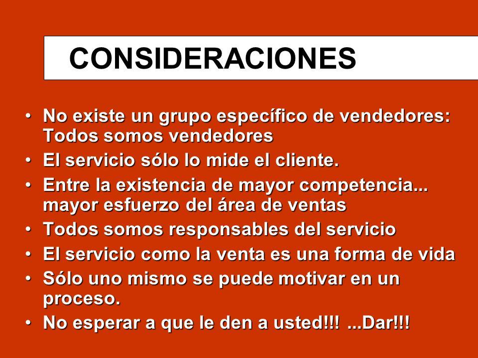 CONSIDERACIONES No existe un grupo específico de vendedores: Todos somos vendedores. El servicio sólo lo mide el cliente.