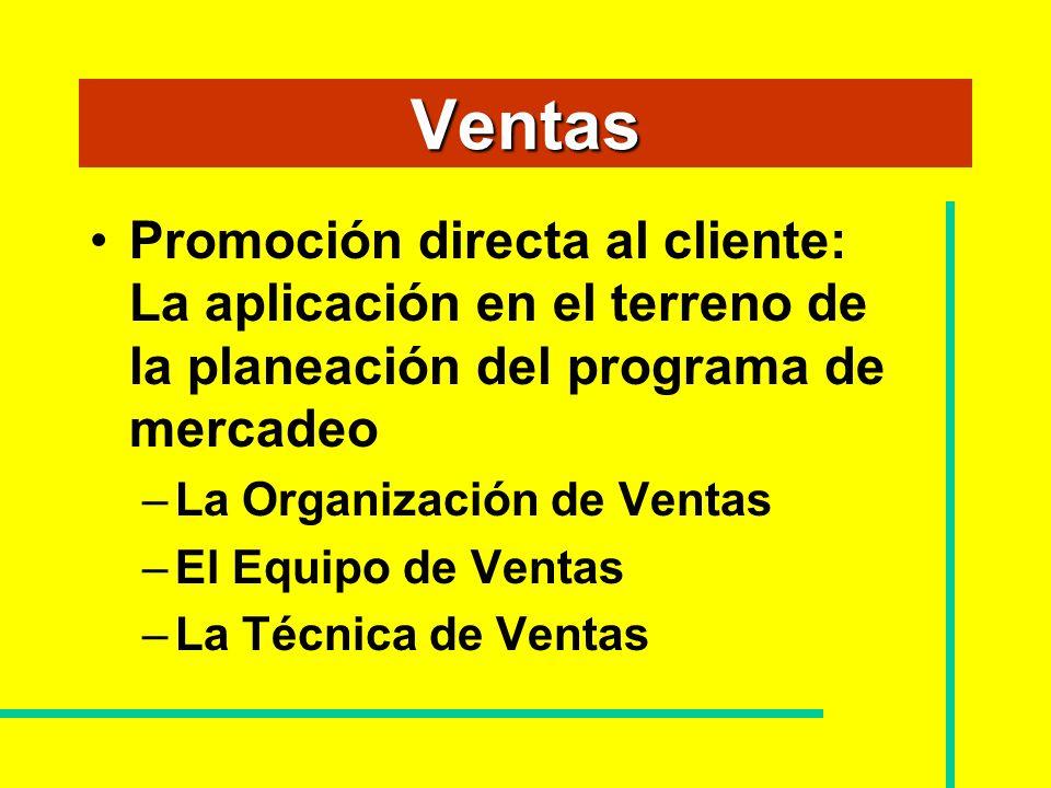 Ventas Promoción directa al cliente: La aplicación en el terreno de la planeación del programa de mercadeo.
