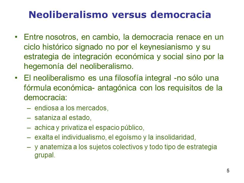 Neoliberalismo versus democracia