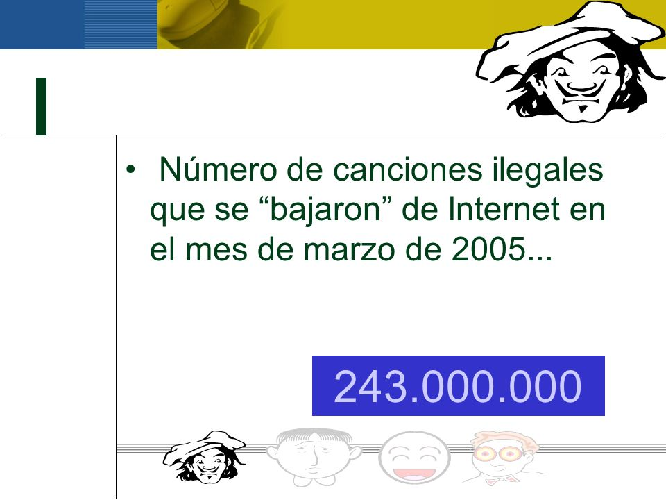 Número de canciones ilegales que se bajaron de Internet en el mes de marzo de 2005...