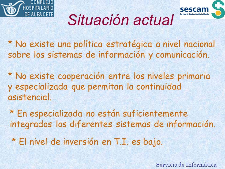Situación actual * No existe una política estratégica a nivel nacional sobre los sistemas de información y comunicación.