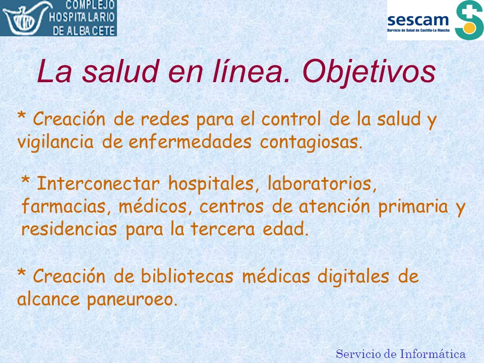 La salud en línea. Objetivos