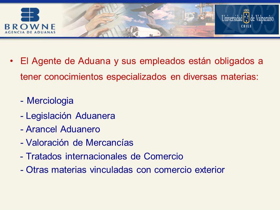 El Agente de Aduana y sus empleados están obligados a tener conocimientos especializados en diversas materias: